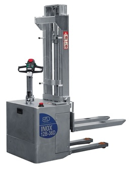 12-B Stainless steel twin traction electric stacker from 1200 Kg